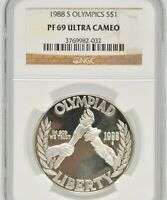 1988-S US OLYMPICS NGC PF 69 ULTRA CAMEO SILVER SLABBED CERTIFIED $1 COIN