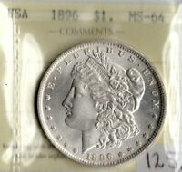 USA 1896 $1 ONE DOLLAR ICCS CERTIFIED  MINT STATE 64 XLN 481