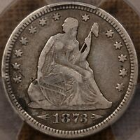 1873 ARROWS LIBERTY SEATED QUARTER PCGS VF25 VERY PLEASING D