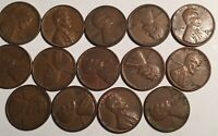 1950 - D PARTIAL LINCOLN WHEAT CENT ROLL 14 CIRCULATED PENNIES US ESTATE COINS