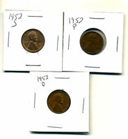 1952 P,D,S WHEAT PENNIES LINCOLN CENTS CIRCULATED 2X2 FLIPS 3 COIN PDS SET340