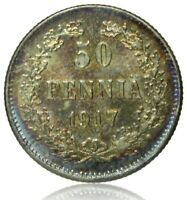 1917 FINLAND  RUSSIAN OCC  50 PENNIA  UNC EXCELLENT SILVER COIN   LOVELY TONING