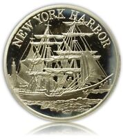 1982 NEW YORK HARBOR SILVER ROUND BY CHEMICAL BANK 3/4 TROY OZ.925 COLLECTIBLE