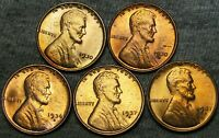 1930 1930-S 1936-D 1937-S 1947-S LINCOLN CENT GEM BU CONDITION LOT ---- J202