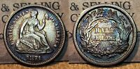 1871 SEATED LIBERTY HALF DIME 5C GREAT DETAILS OLD CLEANING