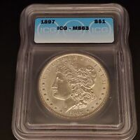 1897 MORGAN SILVER DOLLAR $1 COIN MINT STATE 63