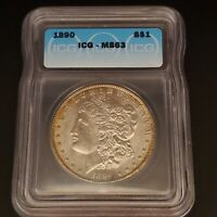 1890 MORGAN SILVER DOLLAR $1 COIN MINT STATE 63