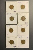 LOT OF 8 1926-P LINCOLN WHEAT CENT EXTRA FINE  - 8 COIN LOT