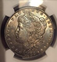 1886 NGC MINT STATE 62 MORGAN SILVER DOLLAR $1 - DUAL SIDE RAINBOW TONED /ESTATE COIN
