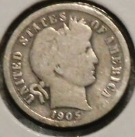 BARBER DIME - 1905-S - HISTORIC SILVER - $1 UNLIMITED SHIPPING