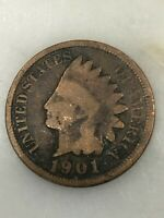 1901 INDIAN HEAD CENT - 100 YEAR OLD PENNY -US COPPER TYPE - ACTUAL SHOWN 18G