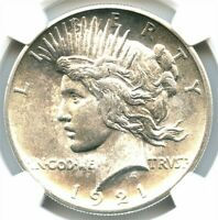 1921 HIGH RELIEF PEACE DOLLAR, NGC MINT STATE 65, TOTAL WHITE BLAZER,  SHARP STRIKE