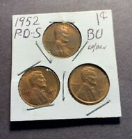 1952 P-D-S LINCOLN WHEAT CENT BU - RB RED BROWN