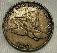 1857 VF FLYING EAGLE CENT  FINE A