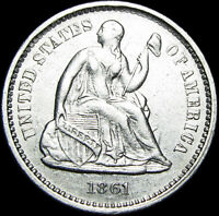 1861 SEATED LIBERTY HALF DIME SILVER ---- TYPE COIN  DETAILS ----  J582