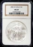 2006 W AMERICAN SILVER EAGLE CERTIFIED MINT STATE 69 BY NGC