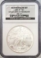 2006 W SILVER EAGLE FROM A EAGLE 20TH ANNIVERSARY SET, CERTIFIED MINT STATE 69 BY NGC