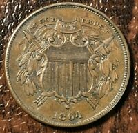 1864 SMALL MOTTO TWO CENT PIECE 2CP KEY DATE  COIN CHOICE AU