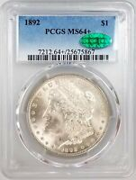 1892 MORGAN SILVER DOLLAR CERTIFIED MINT STATE 64 PLUS BY PCGS AND CAC SHARP
