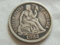 1882 SEATED LIBERTY DIME SILVER TEN CENT COIN