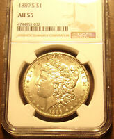 1889 S MORGAN DOLLAR NGC AU 55.LOT 6891