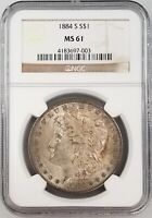 1884 S MORGAN SILVER DOLLAR CERTIFIED MINT STATE 61 BY NGC HARD TO FIND