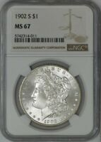 1902-S MORGAN DOLLAR $ MINT STATE 67 NGC 942176-14  POP 1, NONE FINER