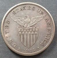 PHILIPPINES   U.S. ADMINISTRATION SILVER ONE PESO 1911S TONED
