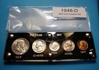 1948 D SILVER SET OF U.S. COINS MINT STATE UNCIRCULATED WITH