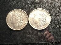 1886-O 1887-O MORGAN SILVER DOLLARS LIGHTLY CIRCULATED READY FOR A SET UNCLEANED
