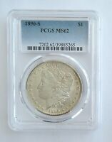 1890-S MORGAN SILVER DOLLARPCGS GRADED MINT STATE 62