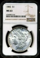1882 MORGAN NGC MINT STATE 63 MOSTLY WHITE OLD SILVER DOLLAR COIN PHILADELPHIA MINT BU