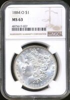 1884-O MORGAN NGC MINT STATE 63 SILVER DOLLAR COIN NEW ORLEANS MINT MOSTLY WHITE LUSTER