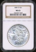 1885-O MORGAN NGC MINT STATE 63 SILVER DOLLAR COIN NEW ORLEANS MINT MOSTLY WHITE LUSTER