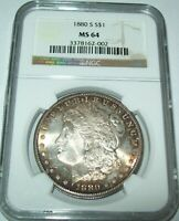 1880-S RAINBOW TONED MORGAN SILVER DOLLARNGC MINT STATE 64 COLORFUL REVERSE TONING