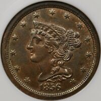 1856 CORONET HALF CENT NGC MS62 BN A PLEASING COIN DAVIDKAHNCOINS