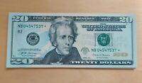TWO 2017 $20 STAR NOTE CRISP UNCIRCULATED BILL 2 CONSECUTIVE BILLS