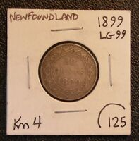 1899 NEWFOUNDLAND 20 CENT KM 4 SILVER COIN LARGE HOOKED 99S