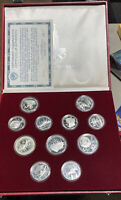 1980 MOSCOW OLYMPIC 11  FINE SILVER COIN PROOF SET WITH BOX