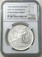 1996 SILVER NEW ZEALAND $5 SHIP DE HEEMSKERCK 31.47 GRAMS CO
