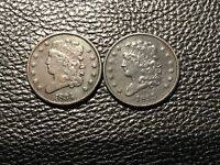 1833-34 CLASSIC HALF CENTS BOTH HIGH GRADE ISSUES SMALL RIM BUMB CORROSION CHEAP