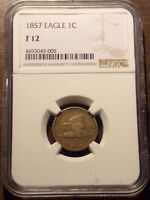 1857 FLYING EAGLE CENT NGC F 12 .LOT 7164