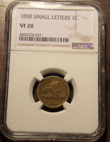 1858 SMALL LETTERS SL FLYING EAGLE CENT NGC VF 20 .LOT 7165