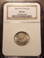 1883 NO CENTS LIBERTY NICKEL NGC MINT STATE 65 .LOT 7171