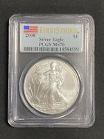 UNITED STATES 2008 PCGS MS 70 AMERICAN SILVER EAGLE $1 DOLLAR FIRST STRIKE COIN