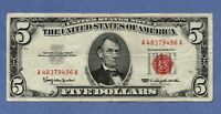 1963 $5 UNITED STATES NOTE RED SEAL US PAPER MONEY US COINS