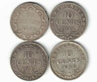 4 X NEWFOUNDLAND TEN CENTS DIMES STERLING SILVER COINS 1896 1912 1917C 1938