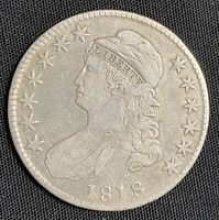 1818 CAPPED BUST SILVER US HALF DOLLAR 50C  BEAUTIFUL OLD CO