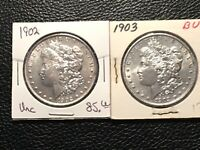 1902-1903 MORGAN DOLLARS BOTH CHOICE UNC BUT  LIGHT CLEANING