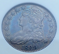 1829 CAPPED BUST HALF DOLLAR O 108A SWEET TONING OLD WHITE A